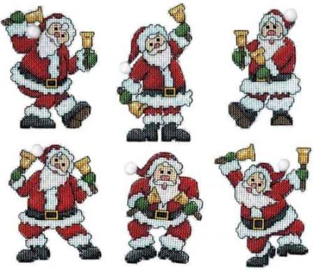 Design Works Cross Stitch Kit  Christmas Tree Ornaments - Santa Hand Bells
