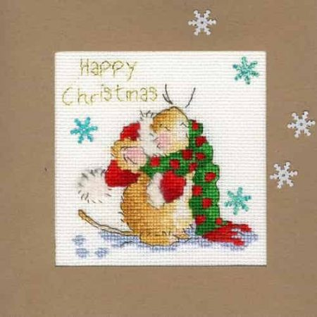 Bothy Threads Cross Stitch Kit - Christmas Card, Counting Snowflakes.