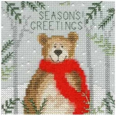 Bothy Threads Cross Stitch Kit - Christmas Card, Xmas Bear