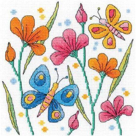 Heritage Crafts Cross Stitch Kit - Karen Carter - Blue Butterfly