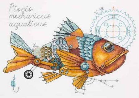 Panna Cross Stitch Kit - Clockwork Fish