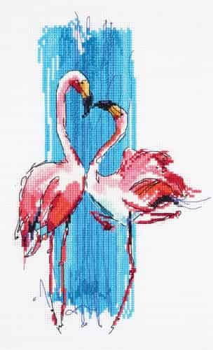 Panna Cross Stitch Kit - Pink Flamingos