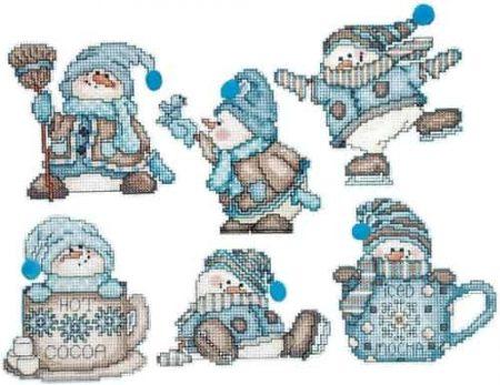 Design Works Cross Stitch Kit  Christmas Tree Ornaments - Cocoa Snowmen
