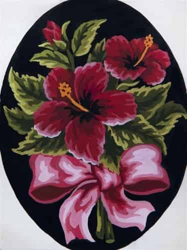 Grafitec Printed Tapestry Needlepoint Canvas - Hibiscus in a bow