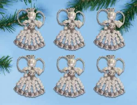 Design Works Christmas Bead Craft Ornament Kit, Safety Pin Angels