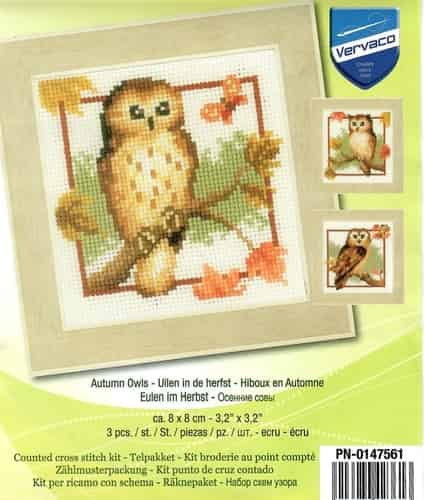 Vervaco Cross Stitch Kit - Autumn Owls - 3 pictures