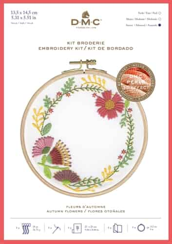 DMC Printed Embroidery Kit - Autumn Flowers TB152 includes hoop
