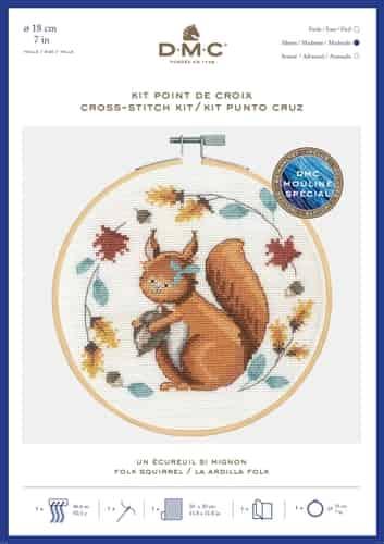 DMC Cross Stitch Kit - Folk Squirrel BK1926 includes hoop