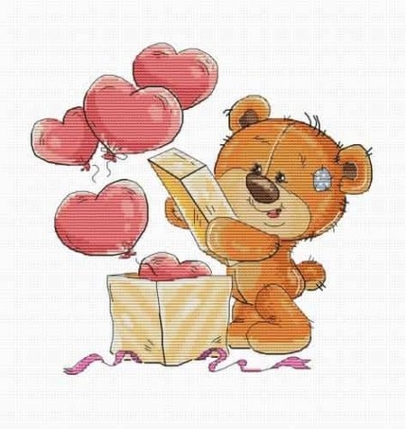 Luca S Cross Stitch Kit - Teddy Bear Hearts B1177