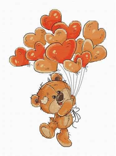 Luca S Cross Stitch Kit - Teddy Bear Balloons B1176