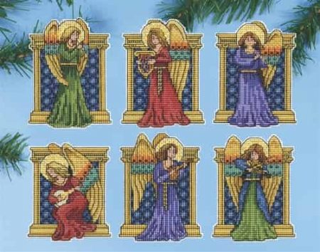 Design Works Cross Stitch Kit  Christmas Tree Ornaments - Medieval Angels