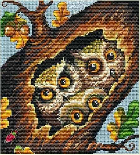 Merejka Cross Stitch Kit - Owls - DMC threads