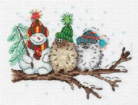 Klart Cross Stitch Kit - Among Friends - Snowman and Birds