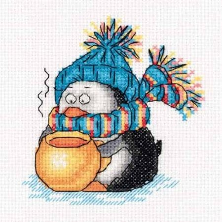 Klart Cross Stitch Kit - Winter Teatime - Penguin