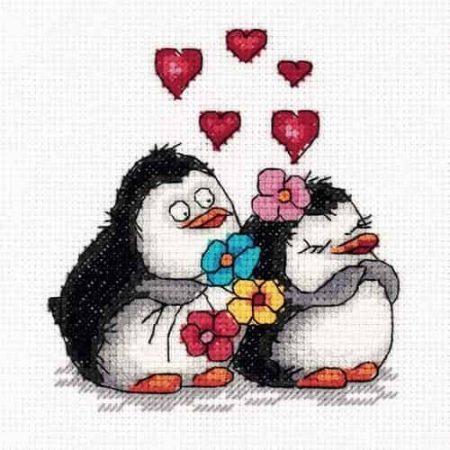 Klart Cross Stitch Kit - Penguins in Love