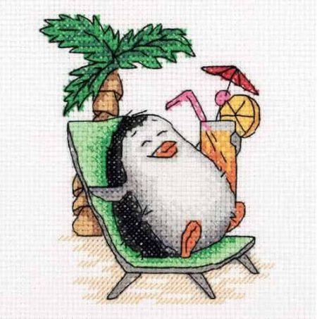 Klart Cross Stitch Kit - Penguin on Holiday