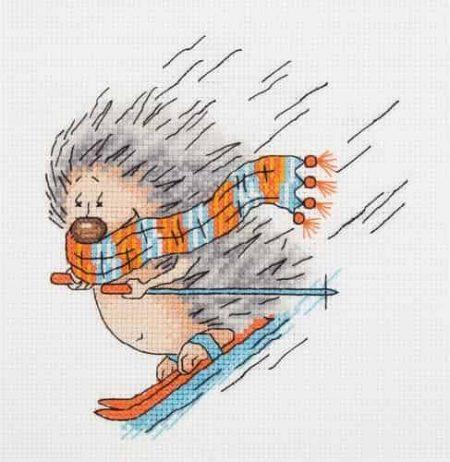 Klart Cross Stitch Kit - Hedgehog Skiing
