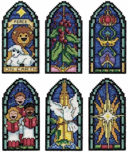 Design Works Cross Stitch Kit  -  Christmas Tree Ornaments - Peace on Earth