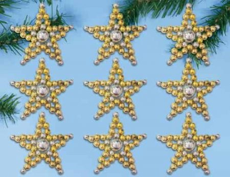 Design Works Bead Kit  Christmas Tree Ornaments - Starlight Multi - Stars