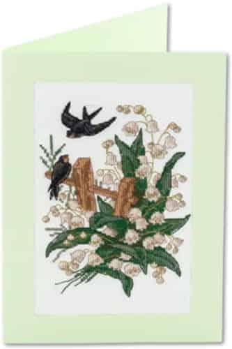 Panna Cross Stitch Kit - Swallows Card Kit