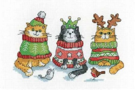 Heritage Crafts Cross Stitch Kit - Christmas Jumpers, Cats