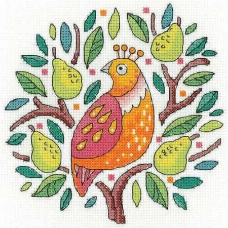 Heritage Crafts Cross Stitch Kit - Partridge in a Pear Tree - Christmas