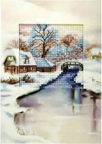 Orchidea Cross Stitch Kit - Christmas Card, Winter River