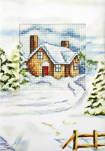 Orchidea Cross Stitch Kit - Christmas Card, House in Winter