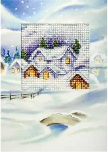 Orchidea Cross Stitch Kit - Christmas Card, Christmas Village