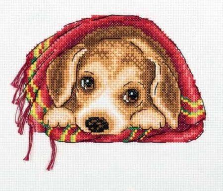 Klart Cross Stitch Kit - Cosy Blanket, Puppy