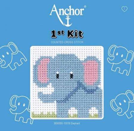 Anchor Beginners 1st Cross Stitch Kit - Elephant 10018
