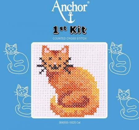 Anchor Beginners 1st Cross Stitch Kit - Cat - 100025