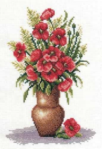 Panna Cross Stitch Kit - Poppy Bunch