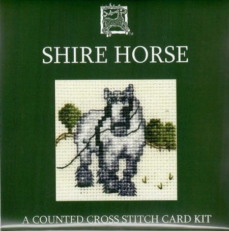 Textile Heritage Cross Stitch Kit - Card - Shire Horse - Made in Scotland
