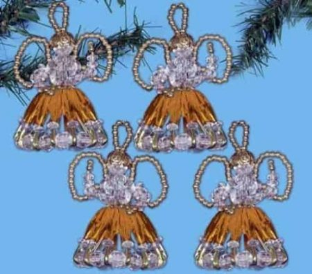Design Works Christmas Bead Craft Ornament Kit, Safety Pin Angels - Gold