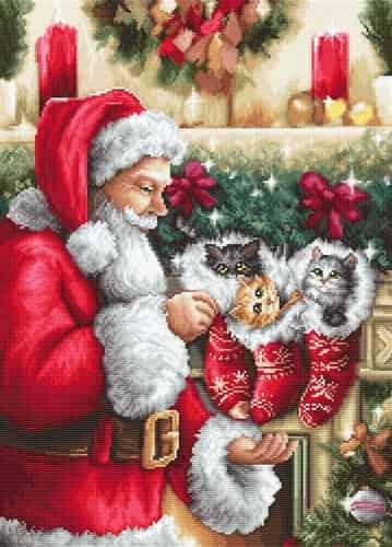 Luca S Needlepoint Tapestry Kit - Santa Claus & Kittens, Christmas G602