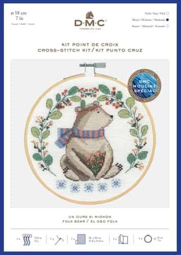 DMC Cross Stitch Kit - Folk Bear BK1927 includes hoop