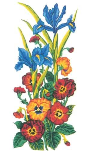 Grafitec Printed Tapestry Canvas - Irises and Pansies
