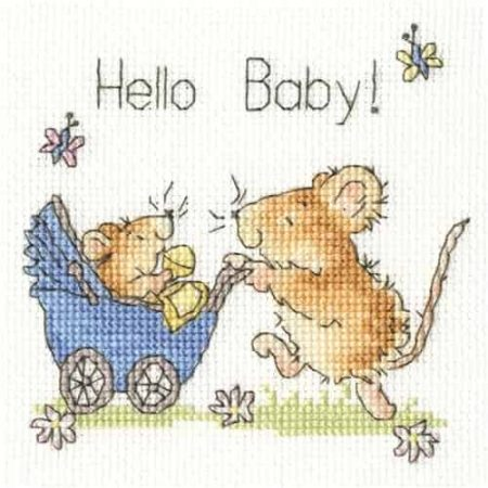 Bothy Threads Cross Stitch Kit - Greetings Card - Hello Baby