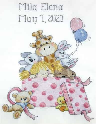 Janlynn Stamped Cross Stitch Kit - Baby Girl Toy Box Sampler, Birth