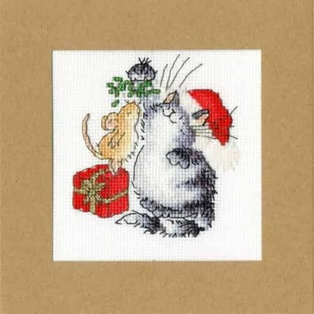 Bothy Threads Cross Stitch Kit - Christmas Card, Under The Mistletoe