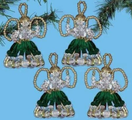 Design Works Christmas Bead Craft Ornament Kit, Safety Pin Angels - Green