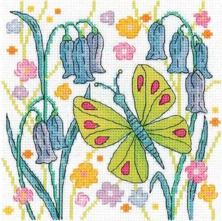 Heritage Crafts Cross Stitch Kit - Karen Carter - Green Butterfly