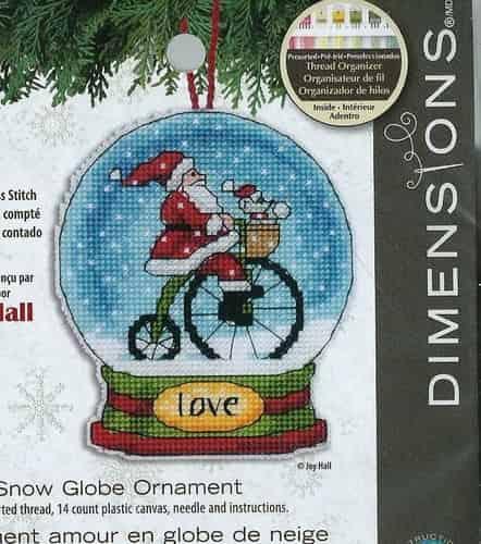 Dimensions Cross Stitch Kit - Snow Globe Christmas Tree Ornament - Love