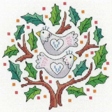 Heritage Crafts Cross Stitch Kit - Two Turtle Doves - Christmas