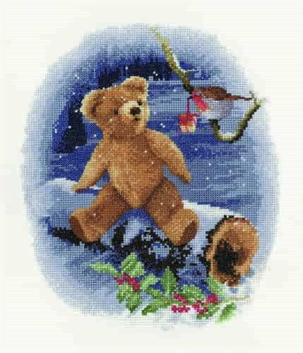 Heritage Crafts Cross Stitch Kit - William's Present, Teddy Bear