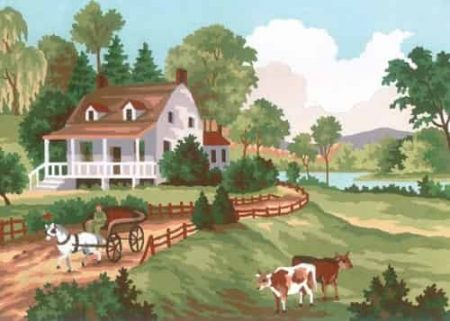Grafitec Printed Tapestry Needlepoint Canvas - Summer Cottage