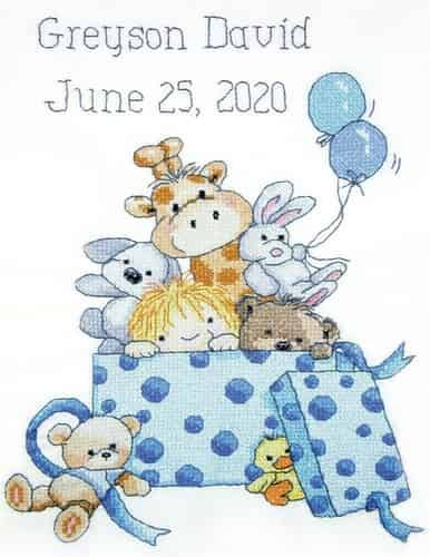 Janlynn Stamped Cross Stitch Kit - Baby Boy Toy Box Sampler, Birth