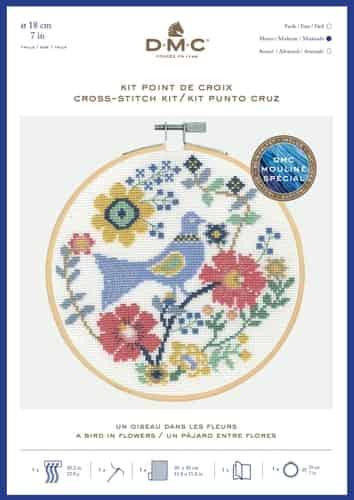 DMC Cross Stitch Kit - A Bird in Flowers BK1929 includes hoop