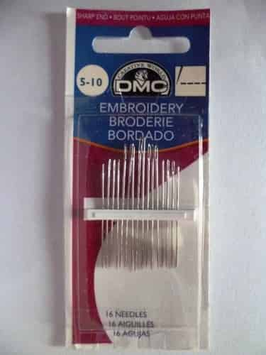 DMC Embroidery Needles Sizes 5-10 pack of 16